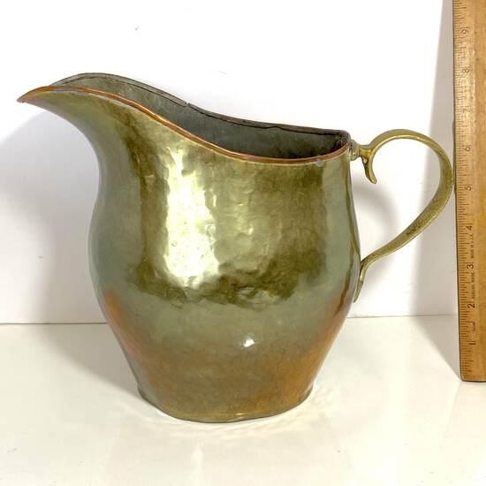Vintage Hammered Brass & Copper Pitcher