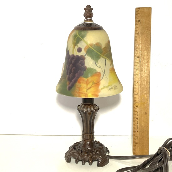 """Pretty Metal Accent Lamp with Glass Shade & Grape Design Shade is Signed """"Glynda Turley 2002"""""""