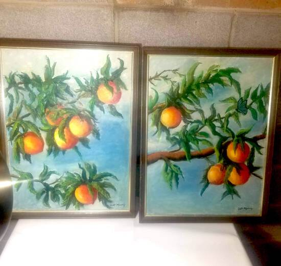 Pair of Hand Painted Peach Paintings Signed by Artist
