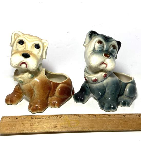 Pair of Adorable Vintage Pottery Dog Planters