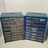 Pair of Plastic Organizers with Multiple Drawers & Some Beads