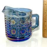 Blue Carnival Glass Creamer