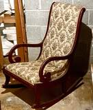 Antique Wooden Tall Back Rocking Chair
