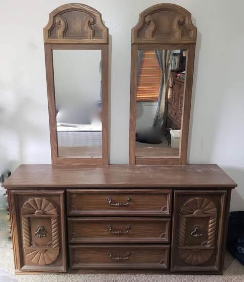 Vintage Mid Century Dresser with Mirrors