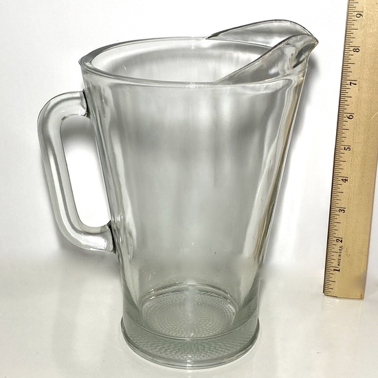 Heavy Solid Glass Vintage Pitcher
