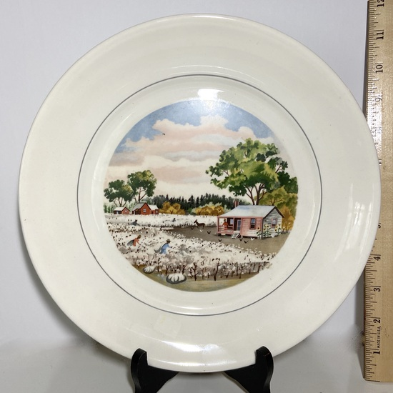 """The American Scene"" By Adolf Dean Southern Cotton Fields Plate"