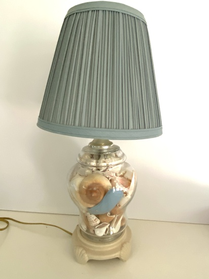 Table Lamp with Shells in Glass Center
