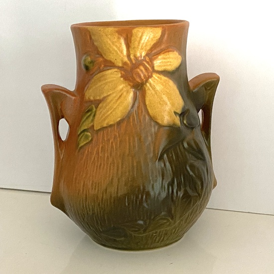 Gorgeous Roseville Pottery Double Handled Vessel Signed on Bottom