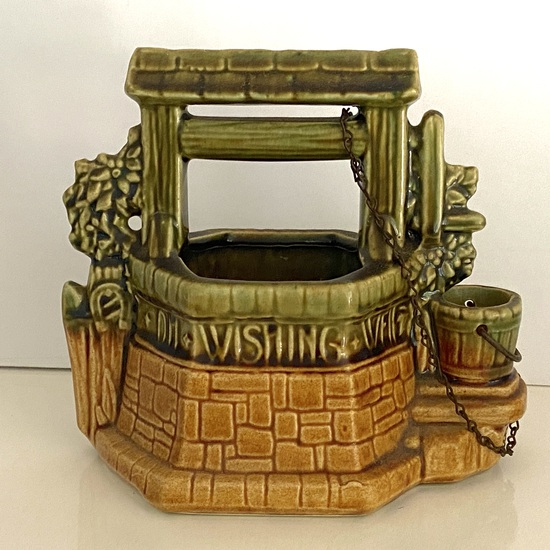McCoy Pottery Wishing Well with Chain Signed on Bottom