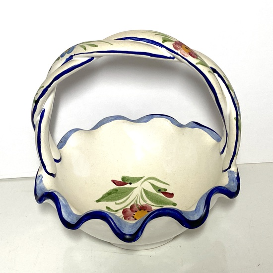 Hand Painted Floral Pottery Basket Made in Portugal Signed on Bottom by Artist
