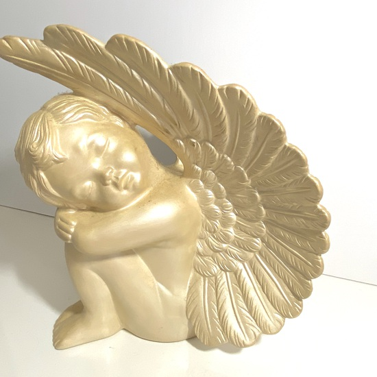"""Ceramic Sleeping Angel with Large Wings (10"""" tall)"""