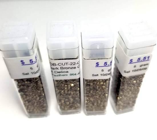 CV – DB - Cut-22-C 11/Cyl - 4 Vials of Metallic Dark Bronze Cut Beads
