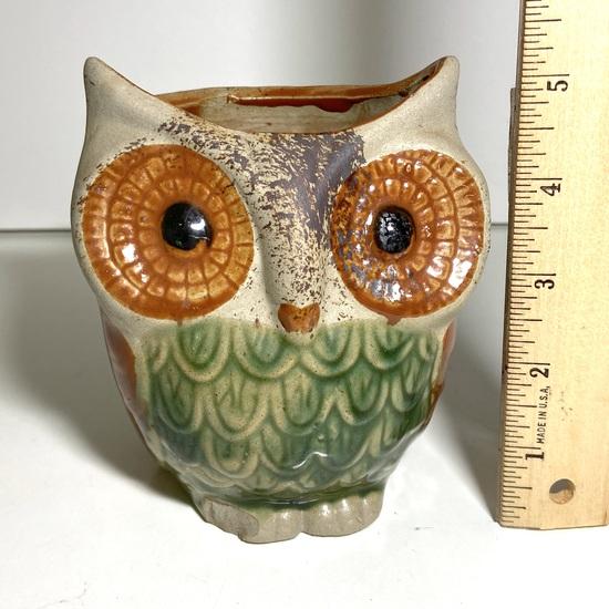 Adorable Pottery Owl Planter/Dish
