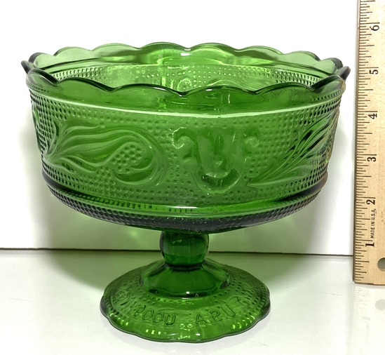 Green Glass Embossed Pedestal Bowl by E. O. Brody Co.