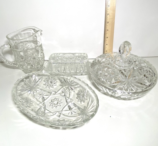 Lot of Vintage Embossed Glass Serving Dishes