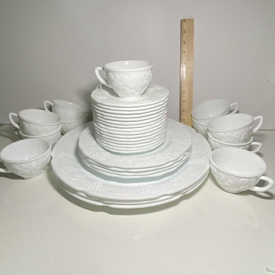 33 pc Lot of White Milk Glass Cups & Saucers with Embossed Grape Design