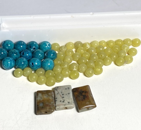 Lot of Natural Stones: Turqouise Round, Earth Tones Chiclets & Round Lemon Yellow