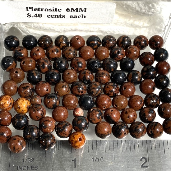 Lot of Natural Stone Pietrasite 6mm Round Beads