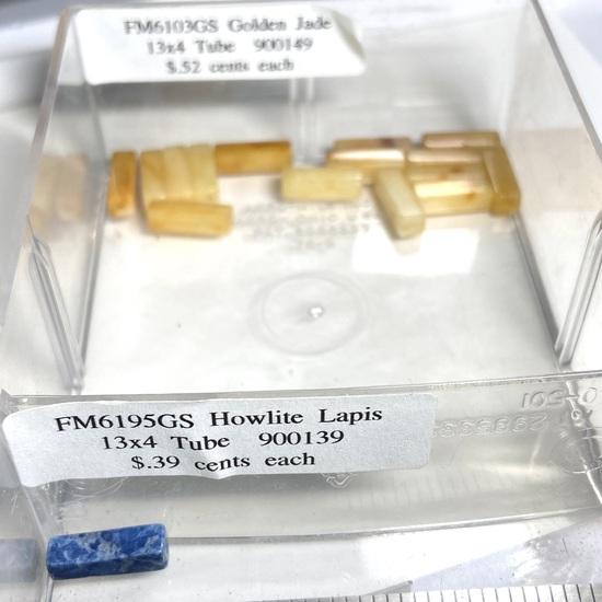 Lot of Natural Stone 13x4 Tube Beads:  Golden Jade & Howlite Lapis