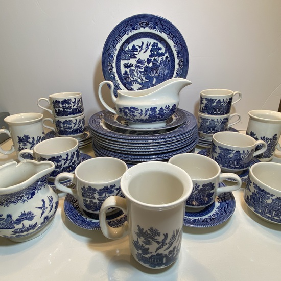 Nice Lot of Blue Willow Dinnerware by Churchill England