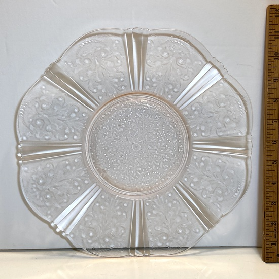 Pretty Pink Depression Glass Etched Platter