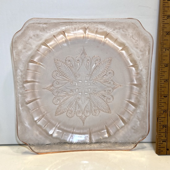 Pink Depression Glass Square Plate with Embossed Floral Design