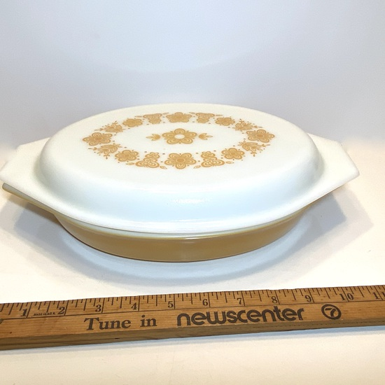 Vintage Butterfly Gold Pyrex Divided Casserole Dish with Lid