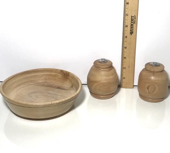 Handmade Wooden Bowl and Salt & Pepper Shaker Signed on Bottom by Artist