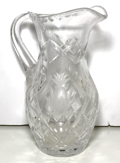 Pressed Glass Pitcher with Pineapple Design