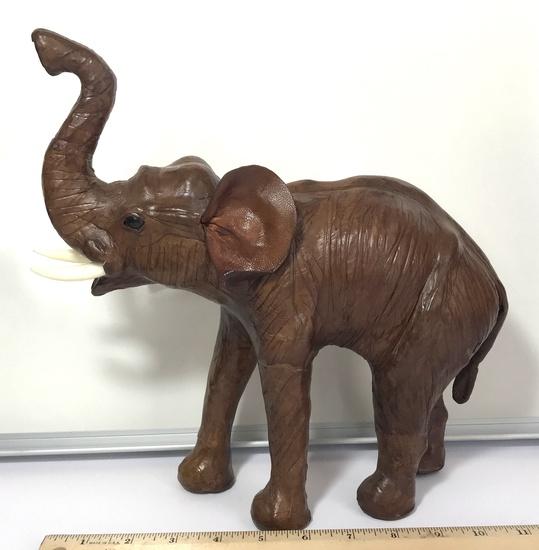 Leather Elephant Figurine with Plastic Tusks