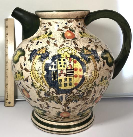 Large Decorative Ceramic Pitcher with Crazed Design