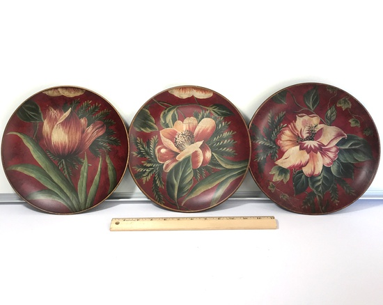 """Three Red Floral 10"""" Decorative Plates"""