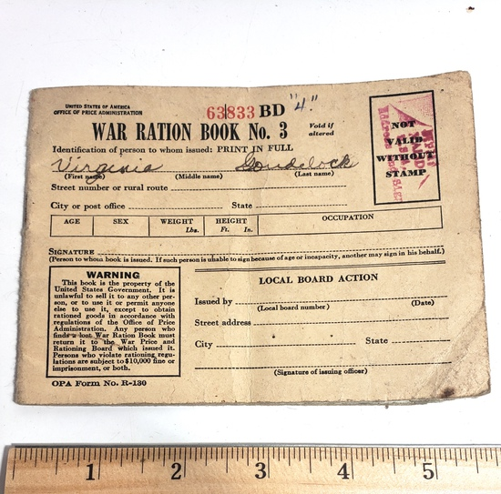 United States War Ration Book with Stamps