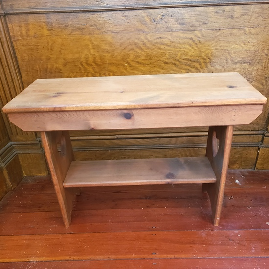 Vintage Country Home Wood Bench with Side Heart Cutouts
