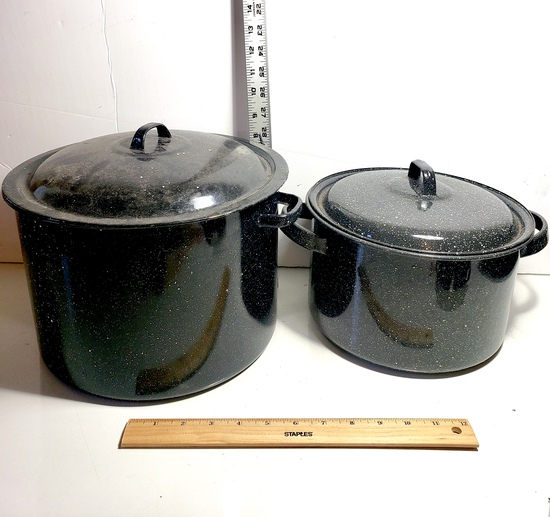 Pair of Black Graniteware Canning Pots with Lids