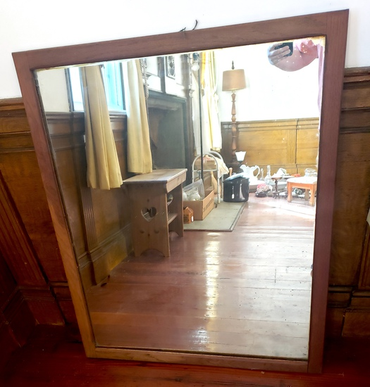 Heavy Antique Mirror with Oak Frame