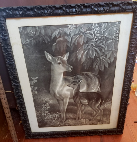 Doe with Fawn Print in Ornate Antique Frame