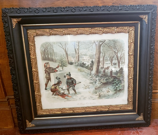 "Early ""The Young Fort Builders"" Print in Ornately Carved Wooden Frame with Gilt Accent"