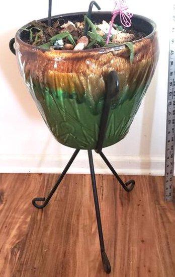 Green Glaze Ceramic Jardiniere w/ Black Wrought Iron Stand