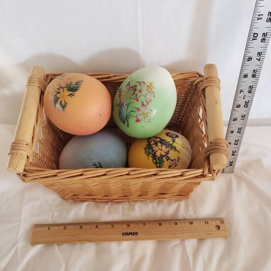 Basket with 4 Ceramic Decoupage Eggs