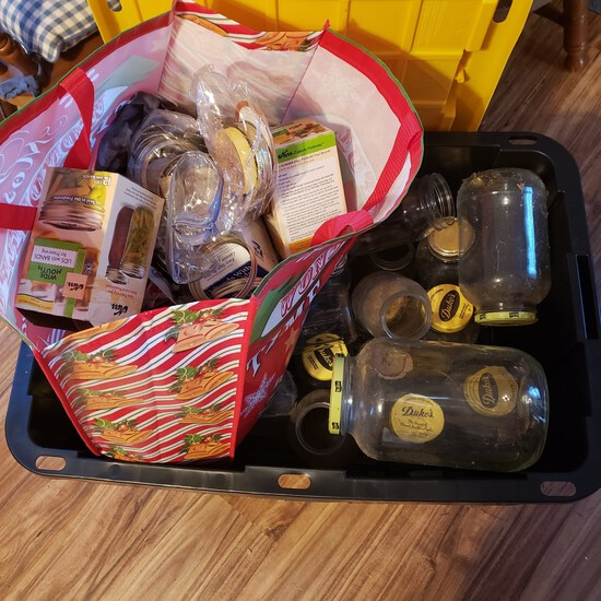 Tote Full of Canning Jars, Rings and Lids
