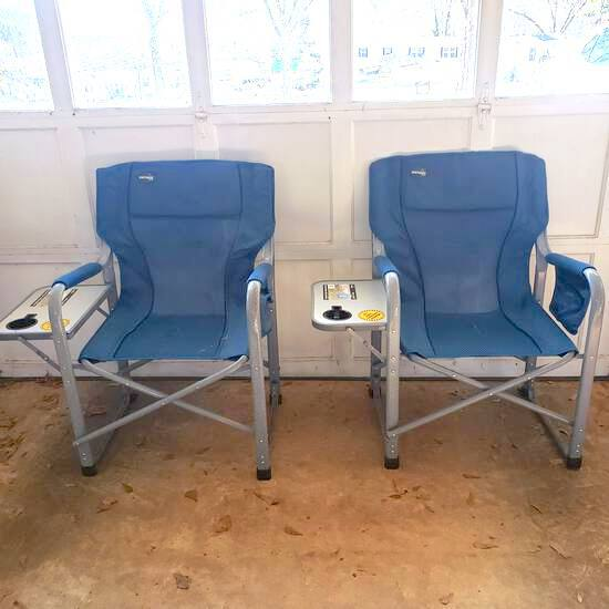 Pair of Metal Fold & Go Camping Chairs with Side Trays, and Pockets by Natural Gear