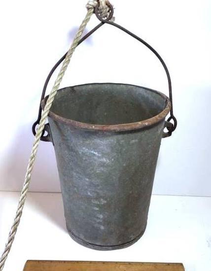 """Galvanized Metal Well Water Bucket (12""""x9"""")"""