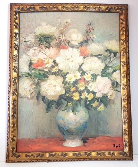Framed Vintage Print of Painting on Canvas of Flowers in Vase