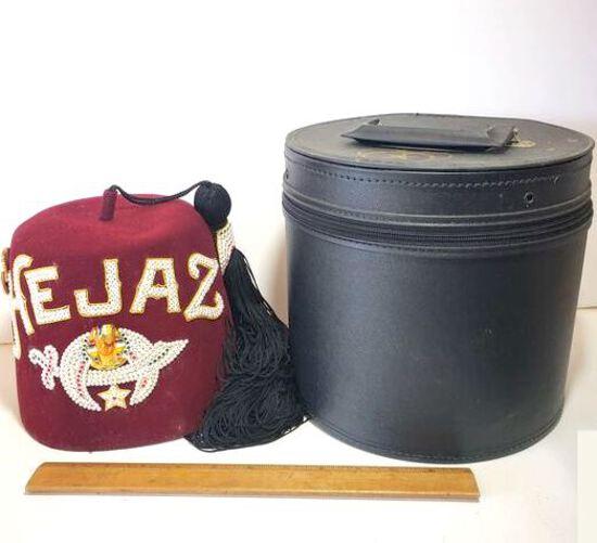 Vintage Shriners Hat HEJAZ with Case