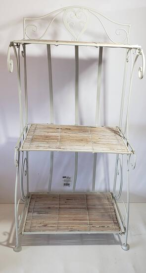 Folding White Metal Small Rack with Bamboo Shelves