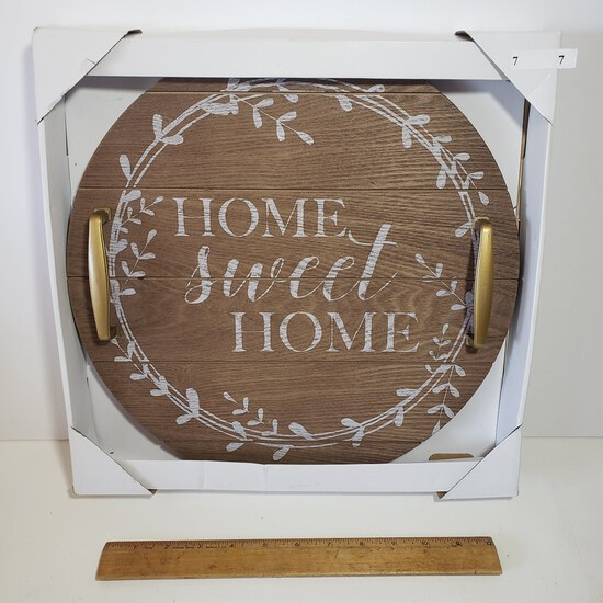 """New in Box Round Wood Rustic Tray with Handles """"Home Set Home"""""""