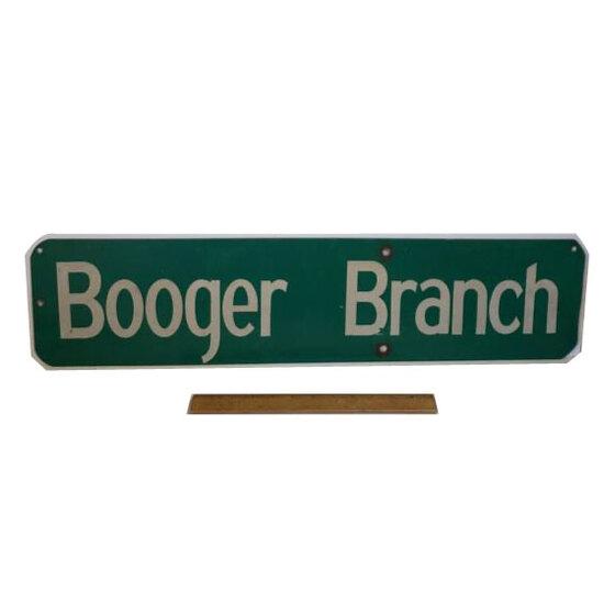 """Vintage Metal Street Sign """"Booger Branch"""""""