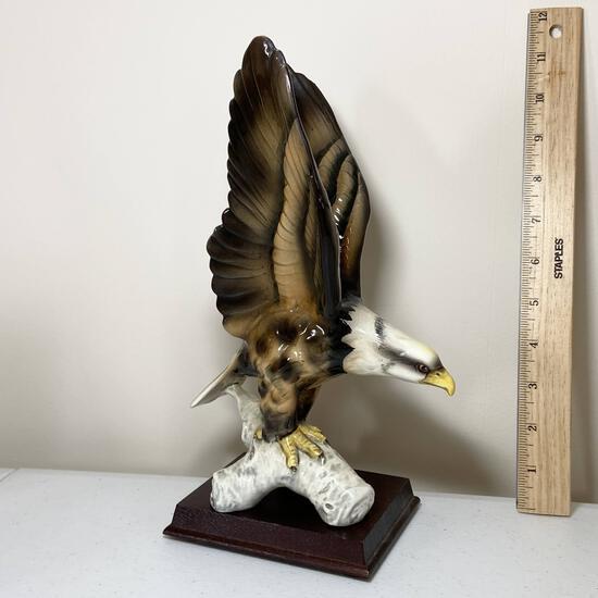 Porcelain Eagle Figurine on Wooden Base