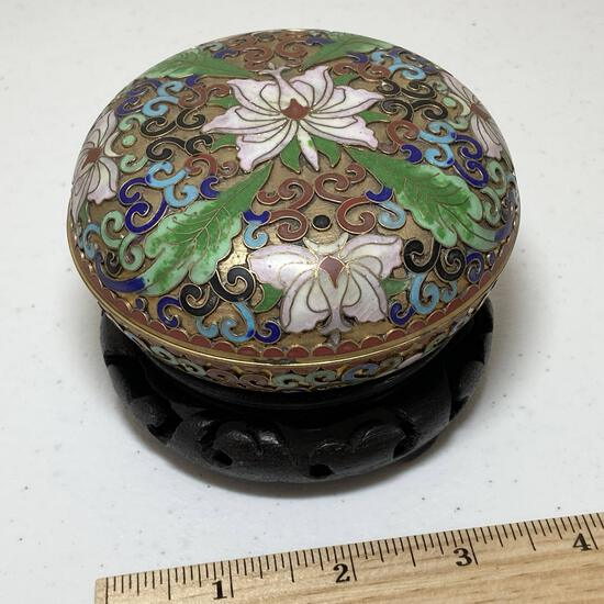 Pretty Enamel & Brass Floral Trinket Box on Carved Wood Base